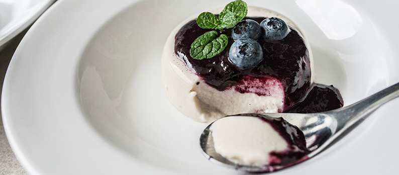 Vegan Panna Cotta with Blueberry Syrup